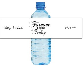 Forvever Begins Today Wedding Water Bottle Labels Great for Engagement Bridal Shower Party