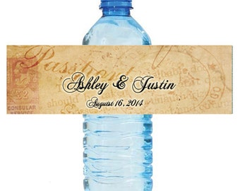 Travel Theme Wedding Water Bottle Labels Great for Engagement Bridal Shower Party