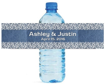Denim and Lace Wedding Anniversary Sweet 16 Water Bottle Labels Great for Engagement Bridal Shower Party