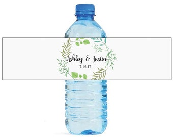 Summer leaves white background Wedding Water Bottle Labels Great for Engagement Bridal Shower Party easy to use, self stick labels