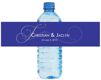 Navy Blue Monogram Elegant Wedding Anniversary Engagment Party Water Bottle Labels Customizeable self stick labels