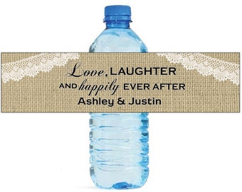 Burlap Love Laughter Happily Ever After Wedding Water Bottle Labels Great for Engagement Bridal Shower Party Self Stick Labels