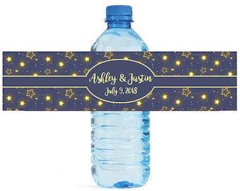 Glowing Stars on blue background Wedding Anniversary Birthday Water Bottle Labels Customizable labels self stick, easy to use