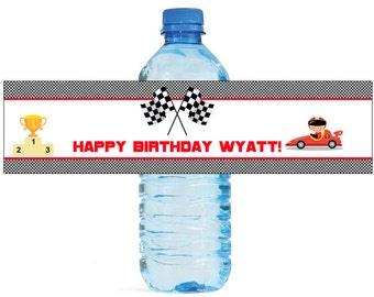 Race Car Theme Kids Birthday Water Bottle Labels Great for all sorts of parties and get togethers easy to use self stick labels