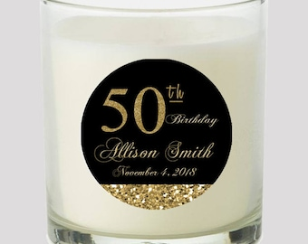 50th Birthday Black And Gold 2 Favor Labels Great For Personalizing Your Events Candles Cupcake Toppers Mason Jar Decals Stickers