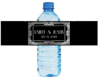 Art Deco style Wedding Engagement Party Bridal Shower Birthday Water Bottle Labels easy to apply and use