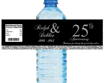 Black and Silver Glitter 25th Anniversary Water Bottle Labels Customizeable labels 2 sizes available