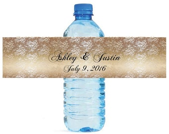 Gold and lace water bottle labels Great for Wedding Bridal showers Engagement Party quinceanera, sweet 15, birthday party