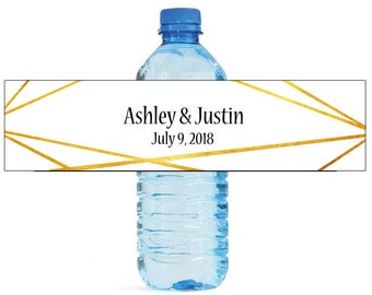 Geometric Gold Wedding Water Bottle Labels Great for Engagement Bridal Shower Birthday Party Sweet 16 Spring Party