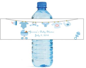 Baby Boy Clothesline Baby Carriage Baby Shower Theme Water Bottle Labels Celebrations Easy to use, self stick