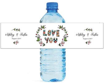 Love You Wreath Wedding Water Bottle Labels Great for Engagement Bridal Shower Birthday Party Sweet 16 Spring Party
