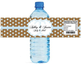 Kraft paper and baby blue glitter dots Monogram Wedding Water Bottle Labels Great for Engagement Bridal Shower Anniversary Party self stick