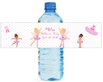 Ballerina Party Theme Water Bottle Labels Great for Birthday Celebrations Kids Party School party Ballet
