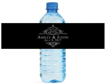 Classic Crest Wedding Water Bottle Labels Great for Engagement Bridal Shower Birthday Party Easy to use self stick labels