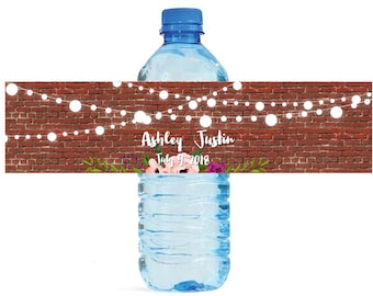 Brick & Market lights Rustic Wedding Anniversary Water Bottle Labels Customizable labels Easy to use self stick Barn Brewery