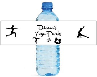Yoga party Theme Water Bottle Labels Great for Engagement party Bridal Shower, birthday party. bachelorette party easy to use self stick
