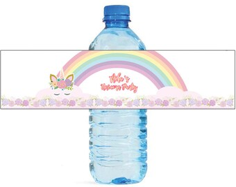 Unicorn at the end of the Rainbow Birthday Water Bottle Labels Great for Parties, and other children events easy to apply and use