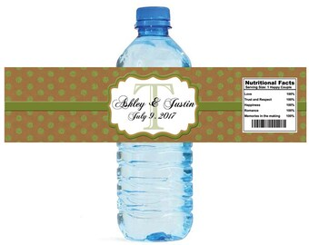 Kraft paper and green glitter dots Monogram Wedding Water Bottle Labels Great for Engagement Bridal Shower Anniversary Party self stick