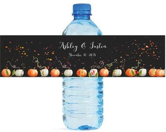 Fall Pumpkins Water Bottle Labels Great for Wedding Anniversary Engagement Birthday Party Fall Event Water Bottle Labels self stick labels