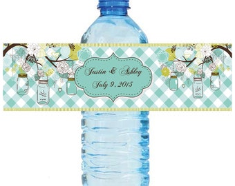 Mason Jar Hanging from Tree Wedding Anniversary Water Bottle Labels Customizeable labels 2 sizes available