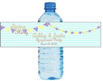 Spring Fling Custom Water Bottle Labels Great for Weddings, Anniversay Birthdays, get togethers, tournaments, Engagement Bridal Shower Party