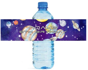 Space Watercolor Kids Birthday Water Bottle Labels Great for all sorts of parties and get togethers easy to use self stick labels