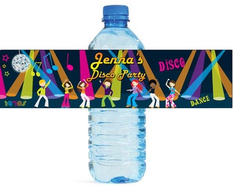 Disco Party Birthday water bottle labels great for Weddings Anniversary 70s or any other event Customizable labels self stick, easy to use
