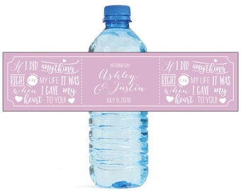 Gave You My Heart Wedding Water Bottle Labels Great for Engagement Bridal Shower party label