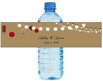 East meets West Wedding Anniversary Water Bottle Labels Customizeable labels String lights Asian Lanterns Red White