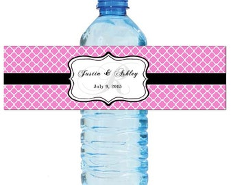 Pink Monogram Water Bottle Labels Great for Engagement Bridal Shower Wedding Anniversary Birthday Party 2 sizes available