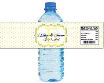Yellow Swiss Monogram Wedding Water Bottle Labels Great for Engagement Bridal Shower Party easy to apply and use