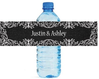 Black Linen and Lace Wedding Water Bottle Labels Great for Engagement Bridal Shower Party