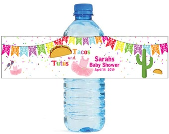 Tacos & Tutus Baby Shower / Wedding / Birthday Water Bottle Labels Great for Engagement Bridal Shower Party easy to apply and use