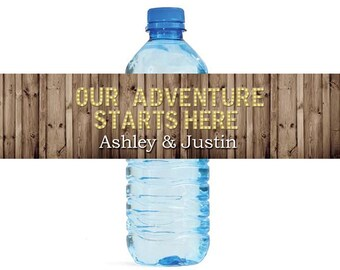 Rustic Wood Marquee Letters Our Adventure Starts Here Wedding Anniversary Engagment Party Water Bottle Labels Customizeable labels