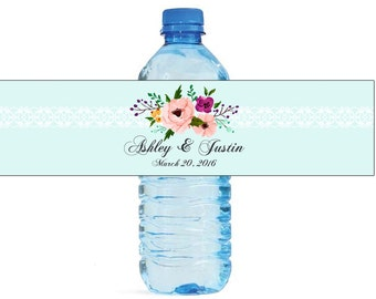 Soiree Theme floral and lace Wedding Water Bottle Labels Great for Engagement Bridal Shower self stick, easy to use botanical