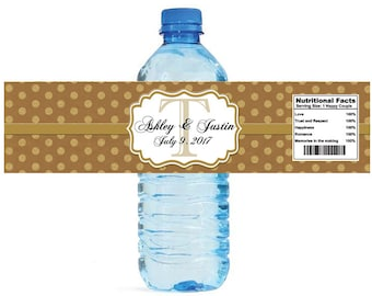 Kraft paper and gold glitter dots Monogram Wedding Water Bottle Labels Great for Engagement Bridal Shower Anniversary Party self stick