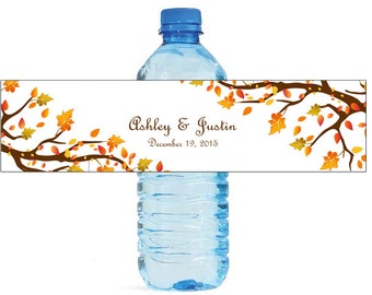 Autumn Trees Wedding Anniversary Engagment Party or any Fall Event Water Bottle Labels Customizeable self stick labels