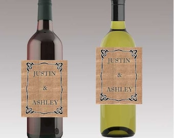 24 Burlap Names Wedding Beer or Wine Bottle Labels Great for Engagement Bridal Shower Party