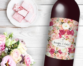 Rose Floral Wine / Beer Bottle Labels Great for Engagement Bridal Shower Party self stick easy to use labels