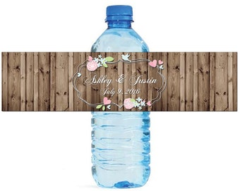 Floral frame on rustic wood background Wedding Water Bottle Labels Great for Engagement Bridal Shower Party easy to apply and use