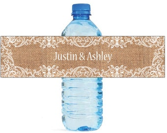 Burlap and fancy white Lace Frame Wedding Water Bottle Labels Great for Engagement Bridal Shower Party