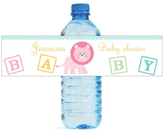 Baby Girl Lion Baby Shower Theme Water Bottle Labels Celebrations animal circus theme