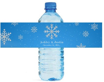 Winter Snowflake with silver glitter snowflakes Wedding Anniversary Water Bottle Labels Customizable labels
