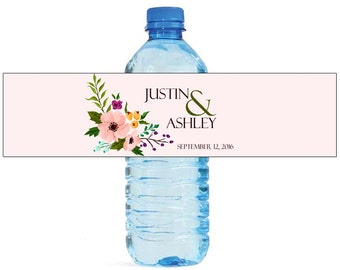 Elegant Flower Wedding Water Bottle Labels Great for Engagement Bridal Shower Party 2 sizes available