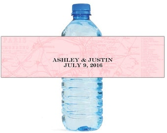 Vintage Map Travel theme Wedding Water Bottle Labels Great for Engagement Bridal Shower Party