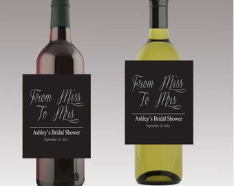 From Miss to Mrs Wedding Beer or Wine Bottle Labels Great for Engagement Bridal Shower Party