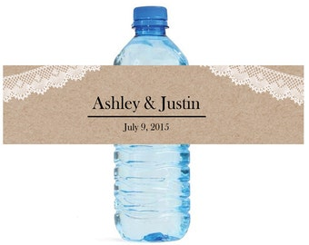 Kraft paper and Lace Wedding Water Bottle Labels Great for Engagement Bridal Shower Party Available in 2 sizes