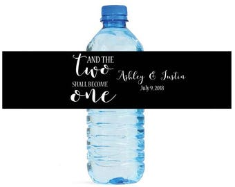 And the Two Shall Become One Wedding Engagement Party Water Bottle Labels Customizeable labels Black and White