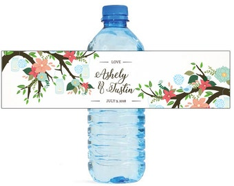 Flowers Trees and Mason Jars Hanging Wedding Anniversary Bridal Shower Engagement Party Water Bottle Labels Customizeable Easy to use