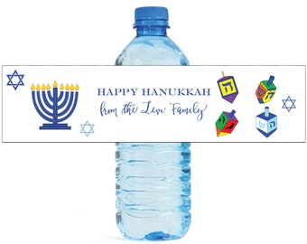 Happy Hanukkah Custom Water Bottle Labels Great for holiday get togethers and events